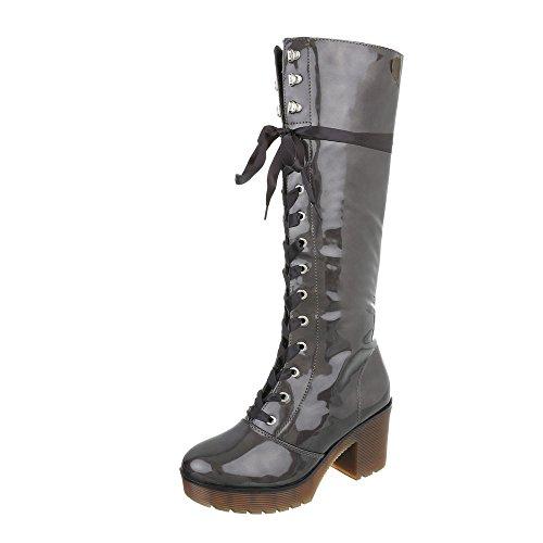 Ital-Design Schnürstiefel Damen-Schuhe Schnürstiefel Blockabsatz Schnürer Reißverschluss Stiefel Grau, Gr 39, A-35-1-