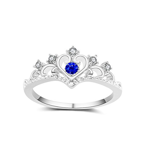Ladies Retro Electroplating Crown Rings Alloy Holiday Gifts Ring Mosaic Jewelry,Blue-7