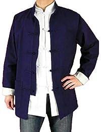 100% Algodón Azul Chaqueta Abrigo de Artes Marciales Kung Fu/Tai Chi XL-XS o Hecho A Medida #123