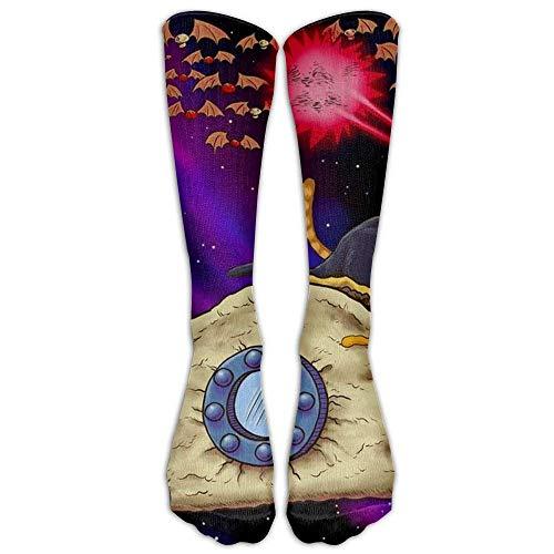 Space Taco Laser Cat Knee High Graduated Compression Socks For Women And Men - Best Medical Nursing Travel Flight Socks Running Fitness