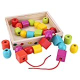Garosa Educativo Temprano de Madera Colorido Perlas de Cordones Hilo Apilamiento Bloque Cadena Rompecabezas Juguete Motricidad Fina Montessori Juguete para Bebés Niños Pequeños Navidad