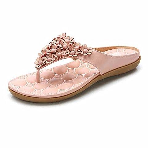 LIXIONG Tragbar Rosa / Weiß Flache Pantoffeln Flip Flops Strand Sandalen (31-45) Modeschuhe ( Farbe : Pink , größe : EU43/UK9.5/CN45 )