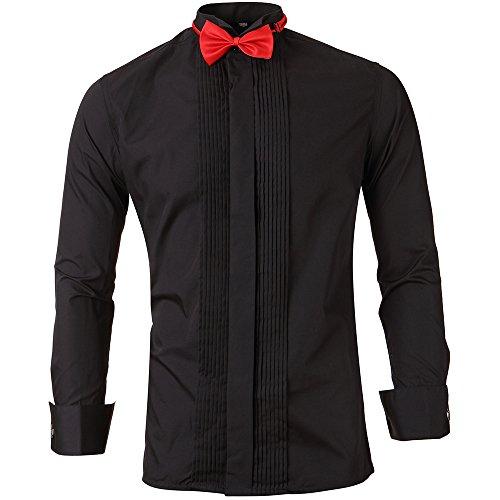 Harrms Herren Smoking Hemd Slim Fit mit Krawatte Manschettenknopf Button Down für Business Hochzeit Freizeit Bügelleicht/Bügelfrei,Schwarz,44