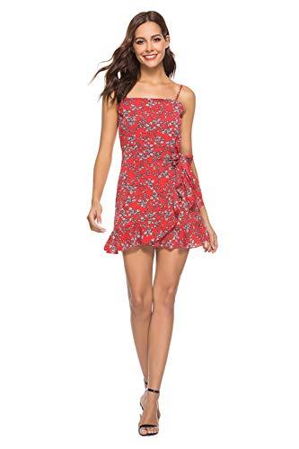 Mujer Vestidos Cortas Verano - Lunares - Gasa Vestido de Mujer Casual y Elegantes de Fiesta y Playa Rojo S