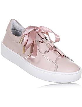 [Sponsorizzato]Twin-Set - Scarpa Rosa in Pelle, Dalle Linee romantiche, con Nastro Rosa Annodato sulla Parte Frontale, Bambina...