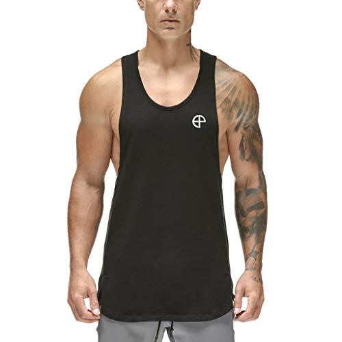 QHJ Kurzarm Hemden Herren Schnelltrocknende Herren Sportweste Ärmelloses Muskelshirt für Männer Tarnfarbenes A Shirt Hip Hop Bodybuilding Weste (Schwarz, XXL)