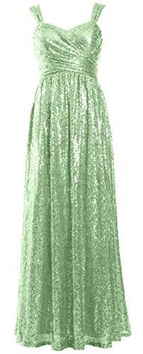 MACloth Women Elegant Sequin Long Bridesmaid Dress Wedding Party Formal Gown Menthe