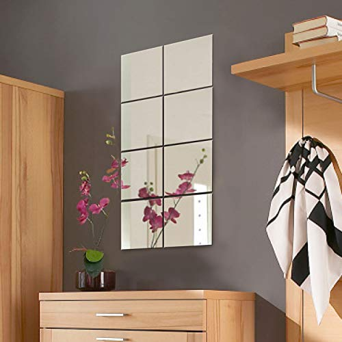 Conjunto de azulejos de espejo de pared decorativos Wohaga® de 8piezas, cada uno mide 20,5 x 20,5...