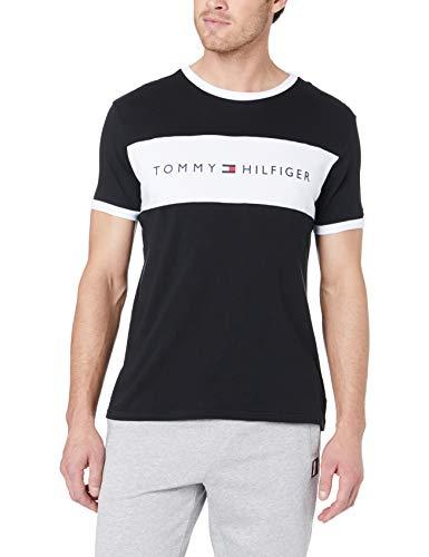 Tommy Hilfiger Herren Cn Ss Tee Logo Flag Schlafanzugoberteil, Schwarz, X-Large (Herstellergröße:):