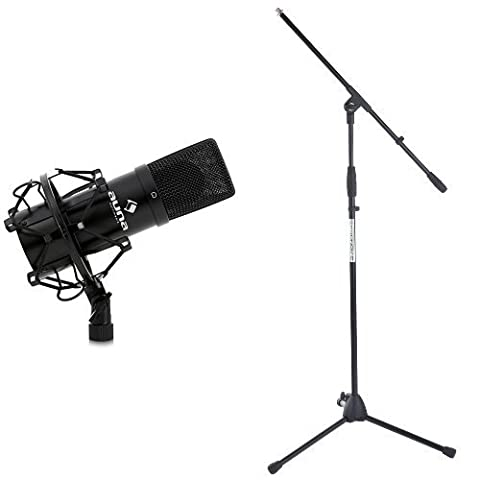 Auna MIC-900B USB Kondensator Mikrofon für Studio-Aufnahmen inkl. Spinne (16mm Kapsel, Nierencharakteristik, 320Hz - 18KHz) schwarz + Pronomic MS-116 Mikrofonständer mit Galgen schwarz Bundle
