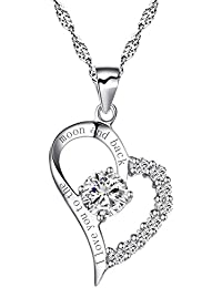 """Sterling Silber Herz """"I Love You to The Moon and Back"""" Halskette Zirkonia Gravur Anhänger"""