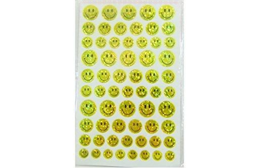 10 hojas de 4 Tamaño Cara sonriente amarilla brillado Pegatinas (620 pegatinas)