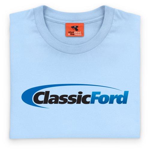 Classic Ford Black & Blue Logo T-Shirt, Damen Himmelblau