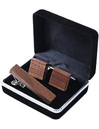 CAI&HONG-WANG GCC Vintage Manschettenknöpfe aus Holz Krawattenklammer handgefertigt