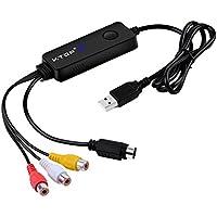 V.TOP USB 2.0 Video Grabber丨Convertitore VHS in DVD Grabber Video丨Scheda di Acquisizione VHS丨Capture Cattura Video de VHS,Hi8,VHS-C per Mac OS 10.13 & Windows 10/8/7/XP