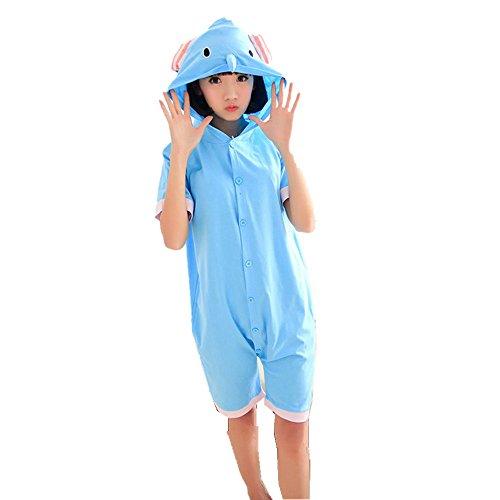 Rainbow Fox Summer Kurzarm Elefant Schlafanzug Unisex cotton couple men and women thin Kapuze Cosplay Kostüm Pyjama (Woman Fox Kostüm)