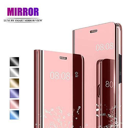 NUONA Funda para XiaoMi RedMi Note 7,Caja del teléfono Espejo,Hecha PC+PU Material Compuesto,Soporte Plegable,Elegante y único Carcasa(Oro Rosa)