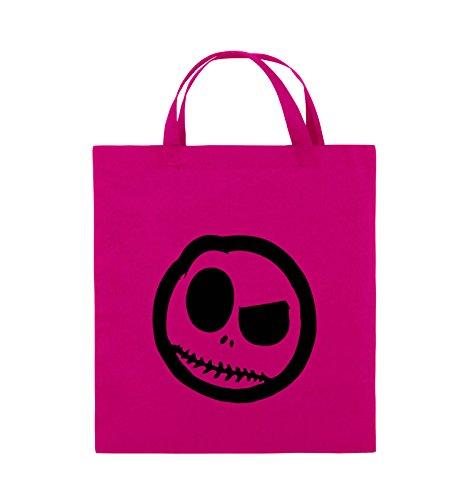 Comedy Bags - BÖSER SMILY - COMIC - Jutebeutel - kurze Henkel - 38x42cm - Farbe: Schwarz / Silber Pink / Schwarz