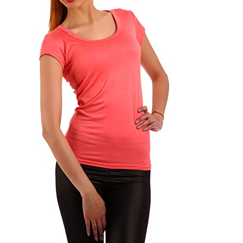 Young Fashion Strech Basic T-Shirt Rundhals-Ausschnitt Shirt Damen Uni 34-40 Apricote