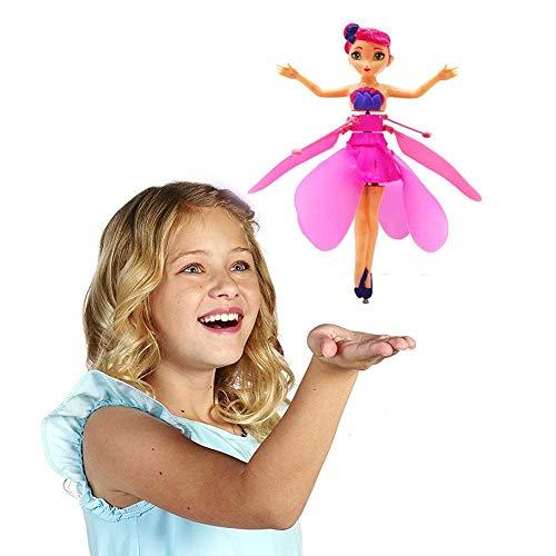 Pictury Fliegen Fee Puppe Mit Lichter Infrarot Induktionssteuerung RC Hubschrauber Kinder Spielzeug Ballett Mädchen Fliegende Prinzessin Puppe -