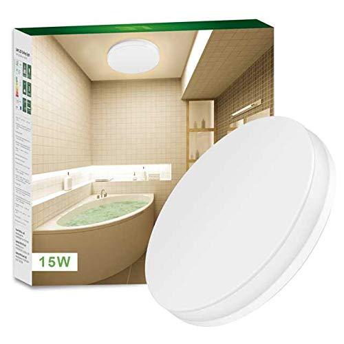 Lighting EVER LE Wasserfest Deckenleuchte IP54, 15W ersetzt 100W Glühbirne, LED Deckenlampe 1250lm Warmweiß, Ideal für Badezimmer, Balkon, Flur, Bad, Küche, Wohnzimmer usw,