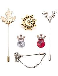 (Pack of 6) Combo of Vibhavari Men's Brooch/Lapel Pin - Limited offer