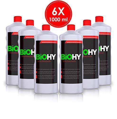 BIOHY Sanitärreiniger 6er Pack (6x1Liter) kraftvoller Bad Reiniger, Toilettenreiniger, Kalklöser, fruchtiger Duft, für glänzende Fließen/Flächen - Profi Bio-Kalkreiniger, Öko Reinigungsmittel