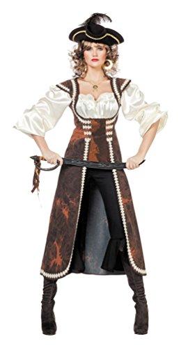 iratenkostüm Damen Kostüm Pirat Damen Piratin Karneval Damenkostüm Piraten-Mantel + Bluse inkl. Hose Größe 38 (Mantel Kostüme Pirat)