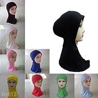 Baumwolle Kopf Hals Brust Abdeckung Tragen Band Mütze Hidschab Islamisch Turban Schön Schal Dunkelblau