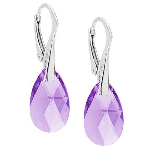 Lillymarie donne argento orecchini sterling 925 viola swarovski elements originali goccia sacchetto per gioielli regali di compleanno