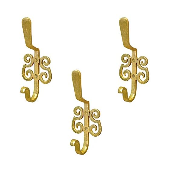 Casa Decor Set of 3 French Arcade Wall Hooks Hanging Clothes Hat Coat Robe Hangers Metal Single Hook Door Hook Wall Mounted Single Hook Hanger Golden Powder Coated