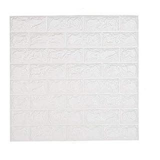 10 Blatt 3D Stereo Aufkleber shkax 60x60cm DIY Wand Aufkleber Wasserdichter Design Tapete Weiß Ziegelstein Mauerstein Brick Pattern Wallpaper für Fernsehapparat Wände Schlafzimmer Sofa Hintergrund Wand Dekor Wandpaneele Selbstklebend (10 Blatt)