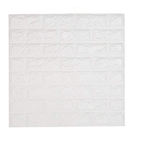 sunkax 10 Blatt Ziegelstein Tapete Weiß 60x60cm Tapeten 3d Effekt Schlafzimmer Wohnzimmer Kinderzimmer Schalldämmung Wasserdichter Leicht zu Reinigen Wandpaneele