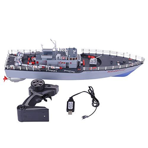 Rolanli Ferngesteuertes Boot, 50cm Fernbedienung Torpedoboot Militär Modellboot Spielzeug für Kinder und Erwachsene