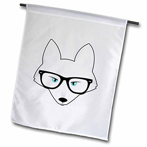 3dRose FL_175373_1 Niedlicher Hipster Arktis Fuchs mit Brille, Gartenflagge, 30,5 x 45,7 cm