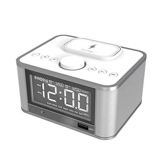 SFZAV Digitaler Wecker mit kabellose Ladegerät,Bluetooth-Stereo-Lautsprechern Docking Station,Handy-USB-Ladefunktion,Alarm mit Schlummerfunktion Weiß