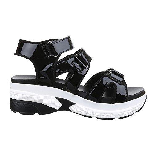 Damen Schuhe, H218, Sandalen Plateau Schwarz