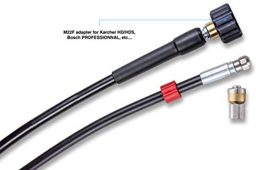 Manguera de Limpieza de drenaje 10 M con Boquilla de Rotativo para Lavadora de chorro de presión Kranzle M22