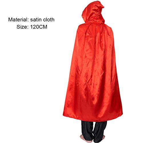 Wizard Robe Red Kostüm - Kostüm Für Erwachsene Cosplay Death Cloak Performance Kostüm Schwarz Wizard Robe Cloak Vampire Red-120CM