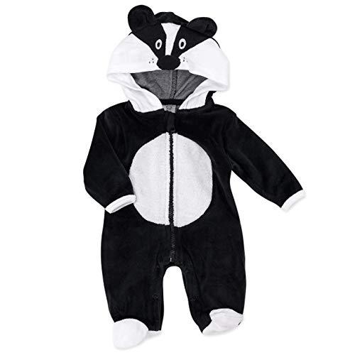 Just Too Cute Baby Overall Unisex schwarz   Motiv: Dachs   Tierstrampler mit Kapuze für Neugeborene & Kleinkinder   Größe: 6-9 Monate (68/74)