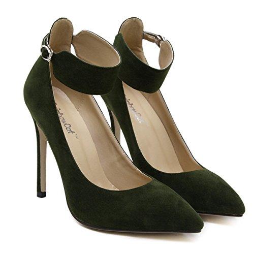 Tornozelo Moda Alto Do Fácil Pontas Tira Bombas Nobuk Das Salto Stiletto Verde No Do Dedo Mulheres Pé Fechado Confortável xfqB6qwP
