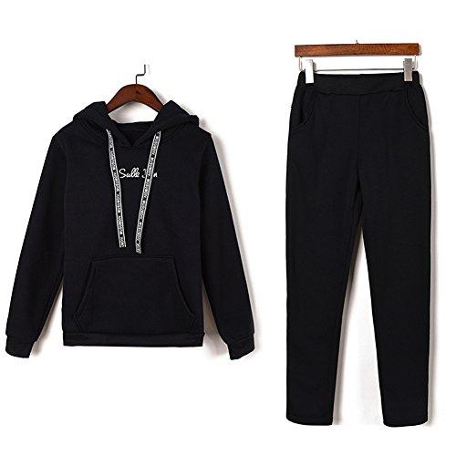 Femmes Survêtement Casual Sweat À Capuche Outwear 2Pcs Sweatshirt + Pantalons Suit Noir