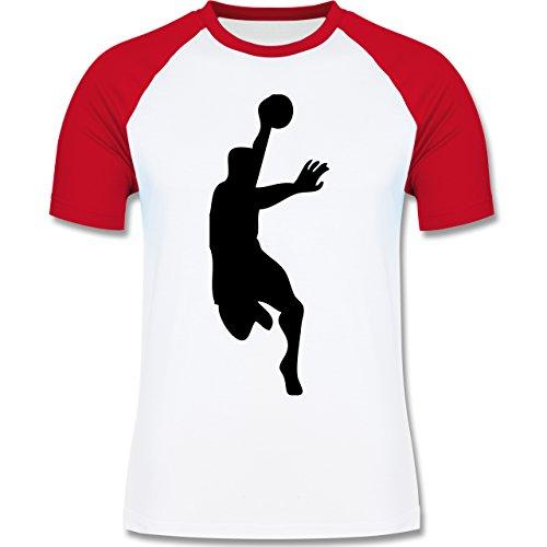 Handball - Handball - zweifarbiges Baseballshirt für Männer Weiß/Rot
