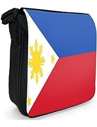 Philippines Flag Small Black Canvas Shoulder Bag / Handbag