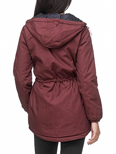 Куртки Sublevel Damen Matilda Winter Jacke Parka Mantel Winterjacke gefüttert mit Kapuze 6 Farben XS XL Earth Red L
