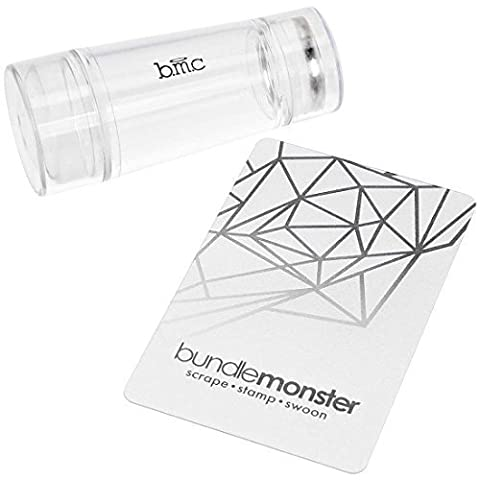 BMC Dual Ended Clear Silicone Nail Art Stamping Heads w/ See Through Handle - Glass Stamper