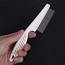 1PC Big Size 0.5mm pitch Pet Fleas lice clean Comb Dog Cat Stainless Pin Grooming Brush Tool : White