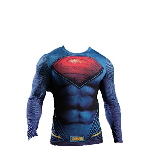 Kostüm Für Superman T Herren Erwachsene Shirt - Samanthajane Bekleidung Born2Ride Superhelden-Kostüm/Fitnessstudio/Radfahren, kurzärmeliges T-Shirt, Tops (Asien XL), Man of Steel Langarm