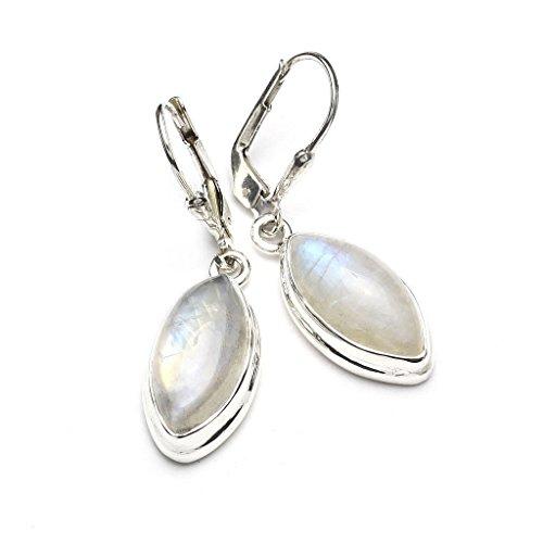 Mystic Silver - Donne Orecchini fatti argento sterling 925 con naturele Pietra di luna - 35mm 5 grammi - 5 Orecchini Di Pietra