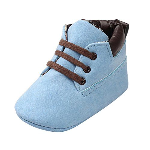 OverDose Unisex-Baby Weiche Warme Sohle Leder/Baumwolle Schuhe Infant Jungen-Mädchen-Kleinkind -Schuhe 0-6 Monate 6-12 Monate 12-18 Monate (0-6 Monate, Blau-Leder) (Schuhe Kleinkind Sohle Leder)